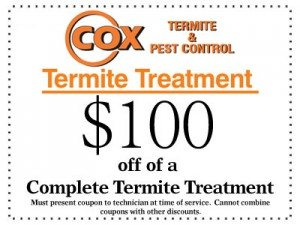 Coupon - $100 off of a complete termite treatment